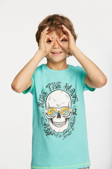 T-SHIRT CASUAL TENTH CALAVERA WAVES RAPAZ